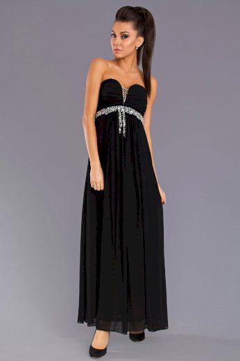 Dlouhé večerní a plesové šaty černé s třpytivými krystaly