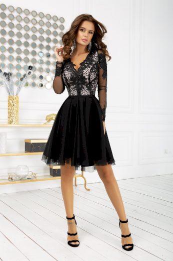 Koktejlové šaty krajkové společenské šaty s dlouhým rukávem
