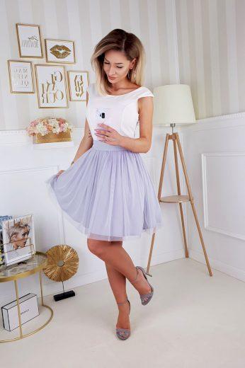 Koktejlové šaty na ramínka s tylovou sukní a mašlí vzadu