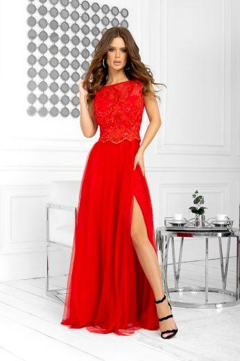 Dlouhé červené šaty krajkové bez rukávů s třpytivou krajkou