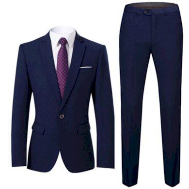 Dvoudílný oblek v akci společenský modrý set na svatbu - XS