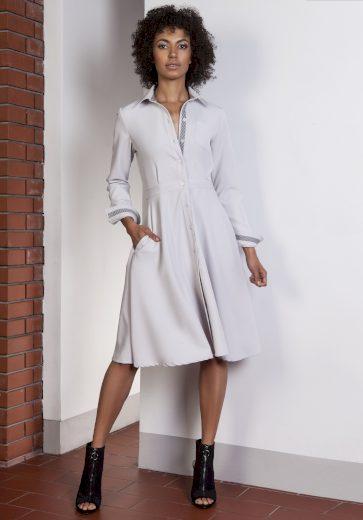 Business bílé šaty na knoflíky košilové šaty s límečkem - L