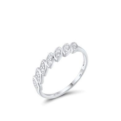 Minimalistický jarní prsten v bílém zlatě
