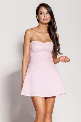 Krátké mini šaty růžové s korzetem bez ramínek šaty áčkové - S