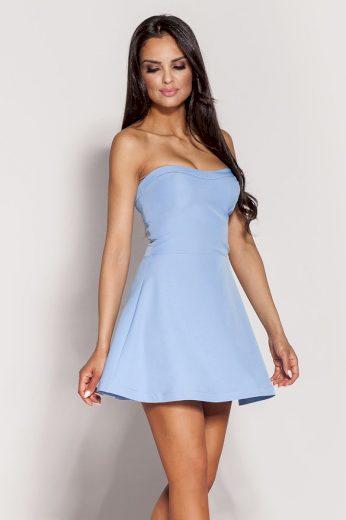 Krátké mini šaty modré s korzetem bez ramínek šaty áčkové - S