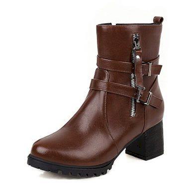 Kožené boty na hranatém podpatku obuv se zipem a pásky - 41