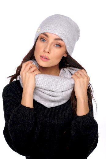 Dámský basic sada čepice s perlou a šála - různé barvy