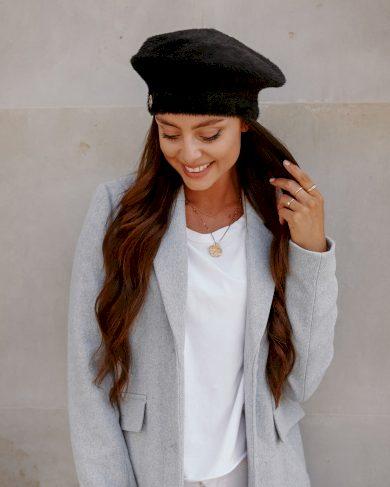 Kožešinový podzimní baret teplá dámská čepice na jaro