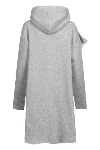 Bavlněné mikinové šaty s kapucí asymetrický střih volánkové šaty