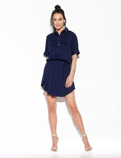 Volné košilové šaty s knoflíky límečkem a vázáním v pase