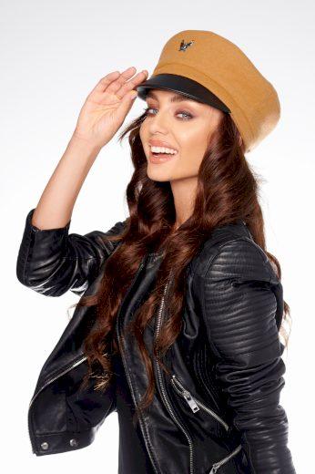 Dámská kapitánská čepice s orlem baret s koženým kšiltem