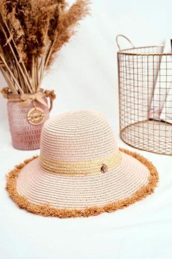 Dámský Klobouk Letní Pláže 100% Papír Béžový
