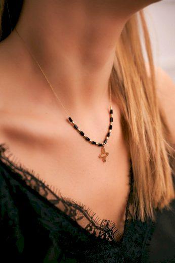 Dámský Zlatý Náhrdelník Květ černé Kuličky Cecilia