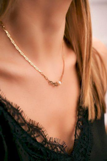 Dámský Zlatý Náhrdelník Perla Znamení Nekonečna Constance