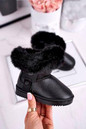 Dětské sněhule s kožešinou černé Marella