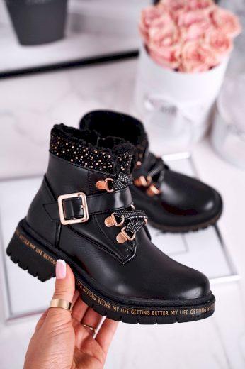 Dětské boty zateplené černé Rhythm