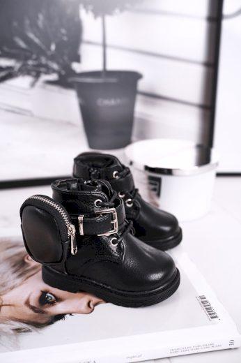 Dětské boty s malou taškou černé Twinkle