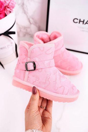 Dětské Kotníkové Boty Sněhule s Kožešinou Růžové Kawai