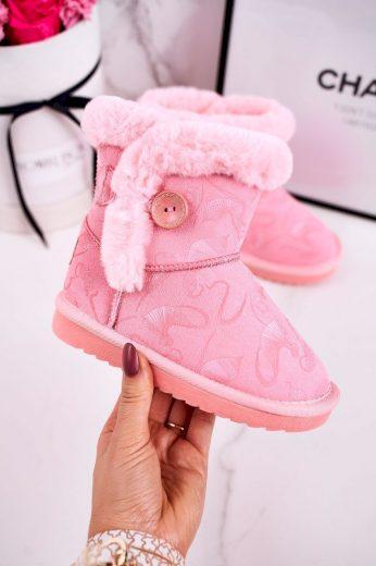 Dětské Boty Sněhule Na Knoflík S Kožešinou Růžové Kawai