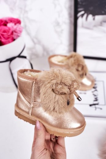 Dívčí Sněhové Teple Boty S Kožešinou Růžové Zlato Aurora