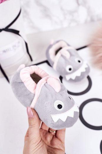 Dětské Zateplené Velurové Pantofle Šedé Monster