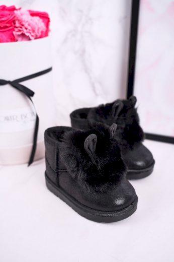 Dívčí Sněhové Teple Boty S Kožešinou S Ušima černé Betty