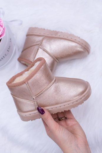 Teplé dětské sněhové boty s kožešinou Champagne Scooby