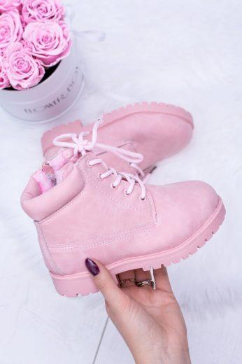 práškové růžové teplé Dětské boty traper Dexter