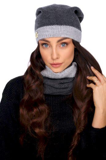 Dvoubarevný set  klasické čepice + šátek