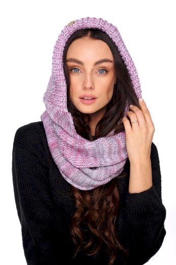 Dámská pletená kapuce teplá v jemných barvách