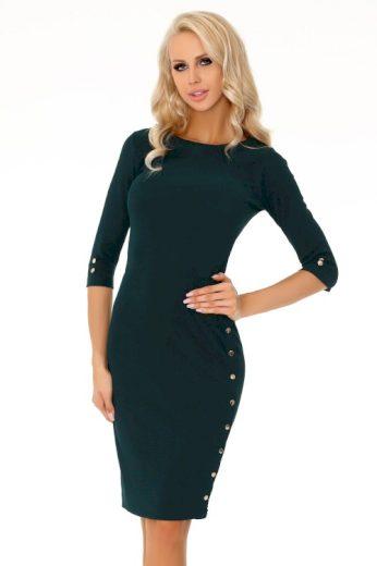 Elegantní pouzdrové šaty s 3/4 rukávem a dekorativními knoflíky