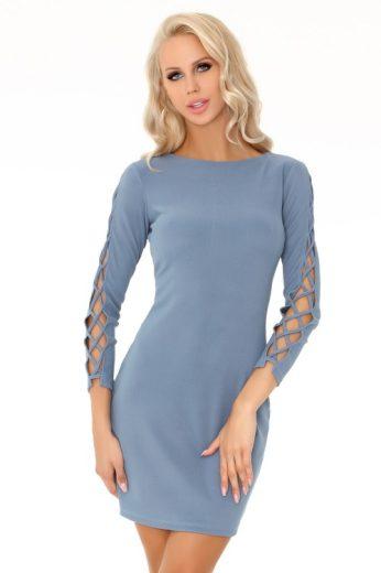 Elegantní šaty s dlouhými šněrovacími rukávy