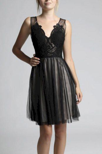 Černé tylové šaty midi plesové šaty síťované s krajkou
