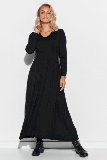 Viskózové maxi šaty s dlouhou řasenou sukní elegantní výstřih