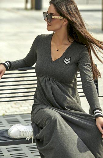 Maxi viskózové šaty Černé s aplikací stříbrné pruhy a výstřih