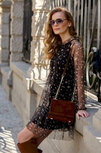 Černé leopardové tylové šaty se spodničkou a volány