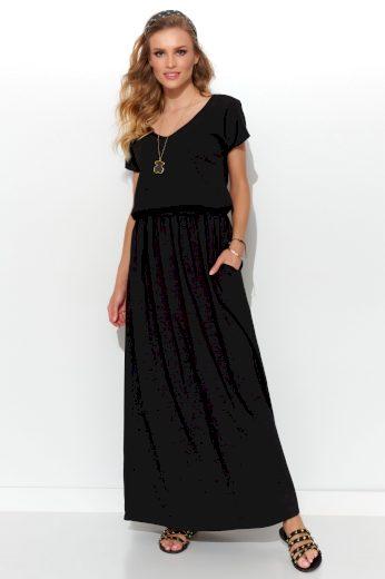 Maxi šaty bavlněné s krátkým rukávem a výstřihem do V