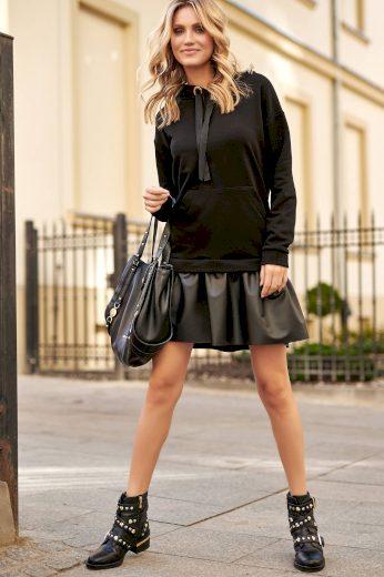Bavlněné mikinové šaty s kapucí a koženou sukní klokaní kapsa