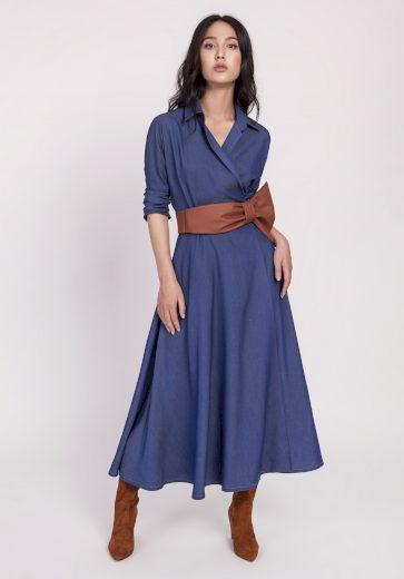 Džínové Šaty denim obálkové šaty s límcem a páskem - M