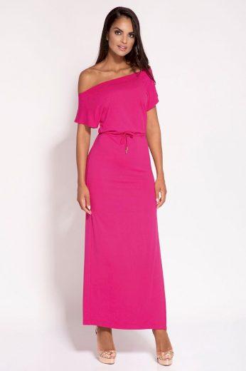 Letní fuchsiové šaty s rozparkem a odhalenými rameny - XS