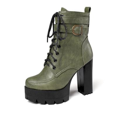 Polokozačky kožené boty na podpatku s pásky - VEL. 40