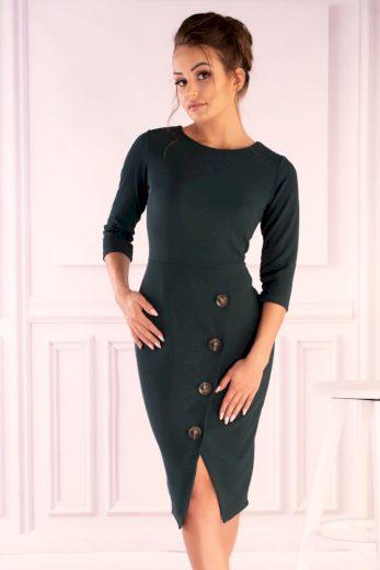 Elegantní šaty se zavinovací sukni a ozdobnými knoflíky