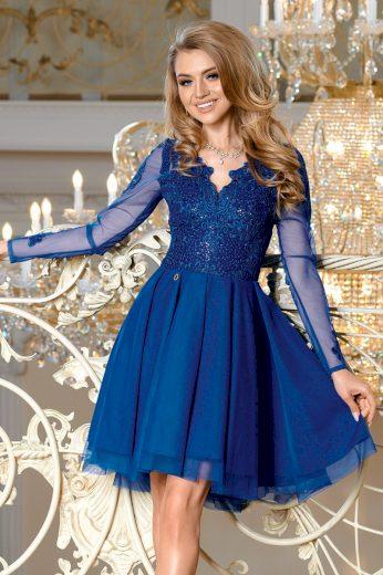 Modré Koktejlové šaty krajkové s dlouhým rukávem - XL