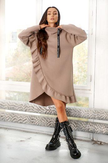Hnědé mikinové šaty s kapucí asymetrické volánkové šaty