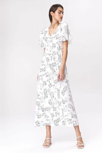 Karamelové maxi šaty s rozšířenými rukávy a potiskem
