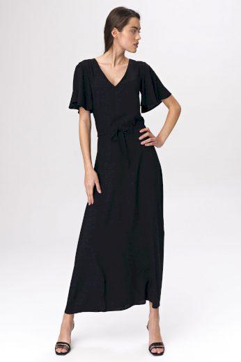 Viskózové černé šaty Maxi s krátkými rukávy a výstřihem do V
