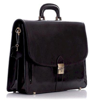 Kožená aktovka kancelářská taška LUCA tmavě hnědá