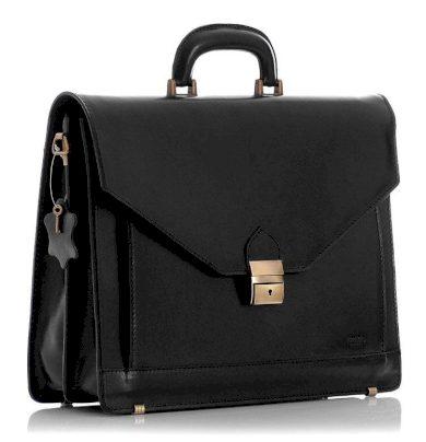 Černá kožená aktovka business pánská taška na notebook MARTINO