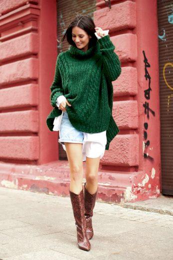 Vlněný svetr s rolákem zelený pulovr hnědý pletený oversize svetr
