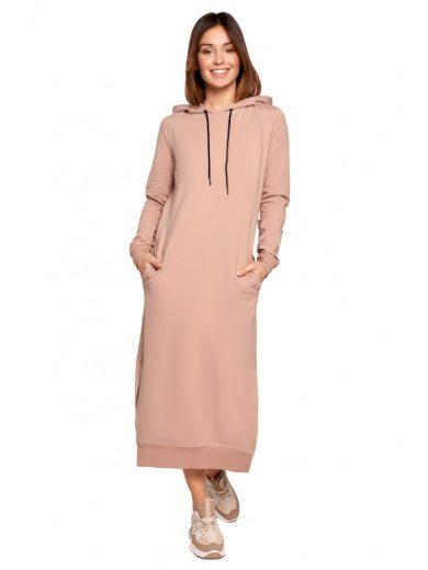 Midi bavlněné šaty s kapucí BE B197